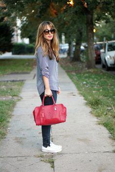 striped blouse, white chucks, @Stella Menagia McCartney sunnies, and a Loewe Amazona bag