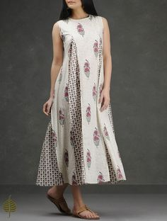 Ivory-Pink Block-Printed Pleated Cotton Dress by Jaypore Kurti Neck Designs, Kurta Designs Women, Blouse Designs, Western Dresses, Indian Dresses, Cotton Gowns, Stitching Dresses, Boho Outfits, Indian Designer Wear