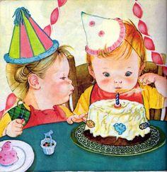 Eloise Wilkin Illustrations - Little Golden Books Vintage Children's Books, Vintage Cards, Retro Vintage, Vintage Birthday Cards, Little Golden Books, Baby Kind, Happy Birthday Wishes, Children's Book Illustration, Book Illustrations
