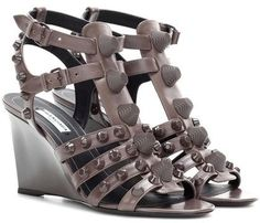 Balenciaga Arena Leather Wedge Sandals