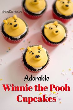 Adorable Winnie the Pooh Cupcakes perfect for a kids birthday party or Disney baby shower. Disney Themed Food, Disney Inspired Food, Disney Food, Baby Disney, Disney Recipes, Disney Travel, Disney Ideas, Disney Tips, Healthy Cupcakes