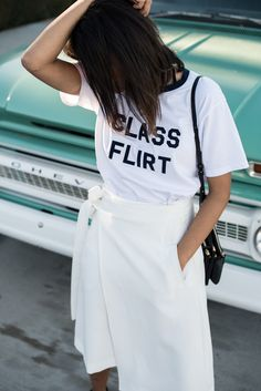 storm wears Bianca Chandon Class Flirt T-Shirt with white reserved skirt and céline trio bag in black theadorabletwo