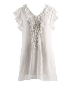 This White Ruffle Button-Up Angel-Sleeve Top - Women by Peppermint Bay is perfect! #zulilyfinds