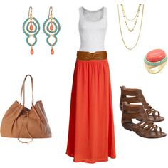 perfect summer outfit... i do love a nice maxi skirt. i'd add a jean jacket for cool nights or the fall. Those shoes are hideous so I would change up those, but the rest is great!