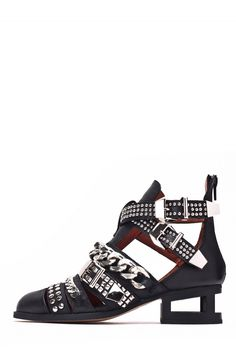 Jeffrey Campbell Shoes NEXT-LEVEL STUD MUFFIN in Black Silver Black Matte
