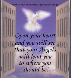 Open your heart...angels will lead you. Repinned by An Angel's Touch, LLC, d/b/a WCF Commercial Green Cleaning Co., Denver's Property Cleaning Specialists!