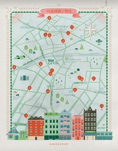 Hamburg city map illustration by Anna Härlin for CUT Magazine. Ui Ux Design, Dashboard Design, Map Design, Print Design, Gravure Illustration, City Illustration, Plan Ville, City Poster, Map Projects