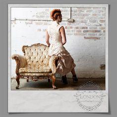 #Long #Cream #Steampunk #Brocade #Dress. #Ruffled #Flared #Hem & Front #Corset #Lacing