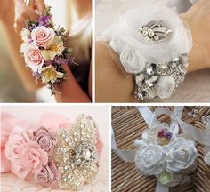 Love the idea of having a diy wrist fabric corsage bouquet. It can still be used for the bouquet toss too! @Esperanza Perl you'd be the perfect person to make these too!