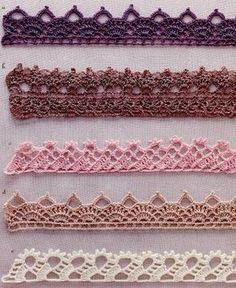 Crochet edging styles you won't learn from your friends Crochet Border Patterns, Crochet Boarders, Crochet Lace Edging, Crochet Hook Set, Crochet Motifs, Crochet Diagram, Thread Crochet, Crochet Trim, Easy Crochet