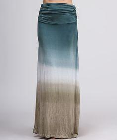 Green & Beige Tie-Dye Maxi Skirt