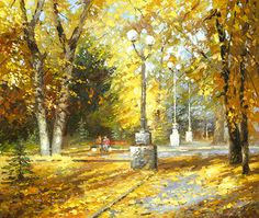 Alley of autumn contemporary wall art acrylic oil by spirosart