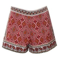 Cream and Red Embroidered Shorts ❤ liked on Polyvore featuring shorts, cream shorts, embroidered shorts and red shorts