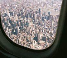 art, city, girl, hand, plane