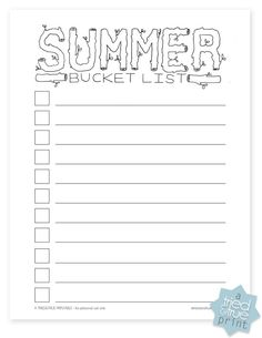 Free printable Summer Bucket List for you and the kids to fill out!