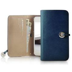 EVOUNI iPhone5対応 Leather Arc Wallet ブルー L55-2BU