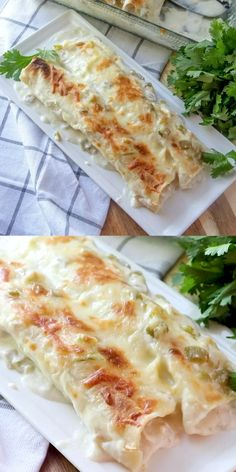 40 minutes · Serves 6 · One of the most popular Country Cook recipes! Creamy White Chicken Enchiladas are made with flour tortillas, shredded chicken, mozzarella, green chiles and a delicious white cream sauce! Healthy Pie Recipes, Grape Recipes, Easy Salad Recipes, Mexican Food Recipes, Dinner Recipes, Cooking Recipes, Healthy Food, Best Chicken Wing Recipe, Healthy Chicken Pot Pie