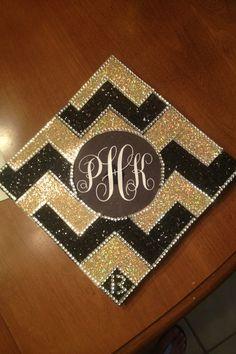 Chevron and monogrammed DIY graduation cap Graduation 2016, Graduation Cap Designs, Graduation Cap Decoration, Graduation Pictures, Abi Motto, Cap Decorations, Grad Cap, Graduate School, Crafty