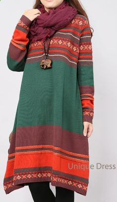 Green Oversize holiday long sweater dress