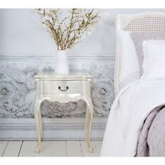 Sylvia Silver Single Drawer Bedside Table - French Bedroom Company Silver Side Table Sale
