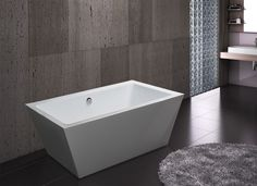 """Does life sometimes stress you out? Unwind after a long tedious day in the AKDY ABTJL604 67"""" bathtub. With 14 inches deep from the chrome overflow and 60"""" L x 26.75"""" W x 17"""" H of interior space, this freestanding tub combines quality and comfort. Bathed in a sparkling white finish, this rectangular shaped bathtub has a sloped interior which provides the perfect backrest for supporting the head and neck. Should you choose to pair it with a freestanding tub filler."""