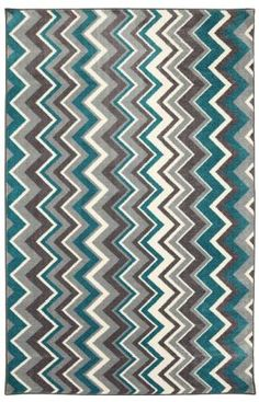Mohawk Home New Wave Ziggidy Teal Rug 8x10 $200 nylon - Not with chevron chairs