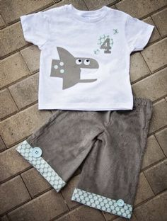 Boys Shark Birthday OutfitPersonalize It!12 Months to 12 YearsMatching Hat Available Too!