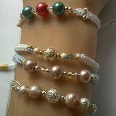 Pearl macrame and chain bracelets - armcandy, armswag - kallirroiart