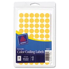"Handwrite Only Removable Round Color-Coding Labels, 1/2"" Dia, Neon Orange,840/pk"