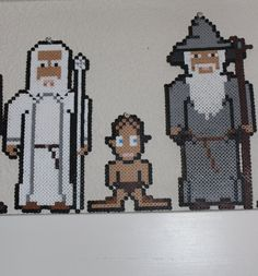 Lord of the Rings Perler Bead Sprites (Gandalf the White, Gollum and Gandalf the Grey) by CuriousFelis