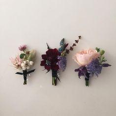 지난 주의 부토니에 삼총사  #오블리크플라워디자인 #obliqueflower How To Wrap Flowers, How To Preserve Flowers, Blooming Flowers, Dried Flowers, Floral Bouquets, Floral Wreath, Bridal Flowers, Pretty Flowers, Flower Crown