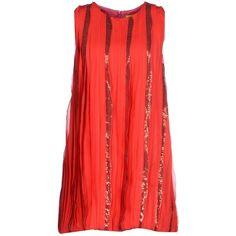 Agatha Ruiz De La Prada Short Dress ($28) ❤ liked on Polyvore featuring dresses, red, red zipper dress, no sleeve dress, short dresses, sequin dress and sequin embellished dress