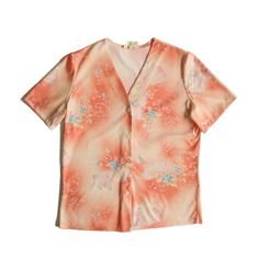 Vintage peach blouse with floral pattern in pink, yellow and blue Vintage Clothing, Vintage Outfits, Top Vintage, Pink Yellow, Floral Tops, Peach, Men Casual, Blouse, Pattern