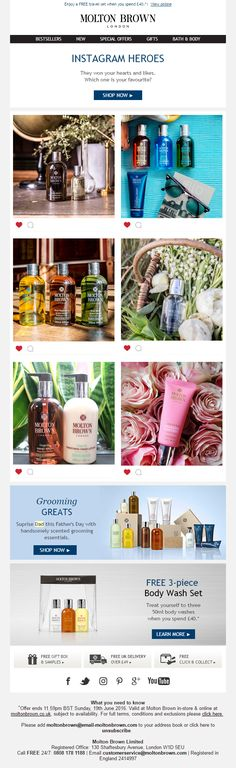 Email from Molton Brown promoting their top liked products on Instagram #Email #Marketing #EmailMarketing #SocialMedia #Social #Media #Instagram #Top #Likes #Offer