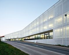 double facade translucent polycarb and perforated metal - Google Search
