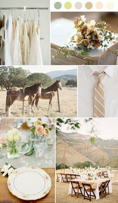 mountain wedding ideas - I love the string lights and color palette. I could do without the horses, obviously.