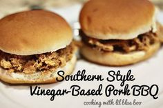 love NC BBQ (but I use shredded chix or turkey).  reminds me of the days when my grandma would take me to king's bbq in kinston, nc.  Also in charleston, shealey's makes a good vinegar bbq sauce you can buy in the stores