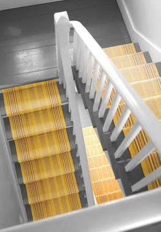 Dash and Albert Rugs - Sunflower Ticking as Stair Runner - Woven Cotton House Stairs, Carpet Stairs, Wall Carpet, Hallway Carpet, Basement Stairs, Basement Ideas, Grey Yellow, Mellow Yellow, Bright Yellow