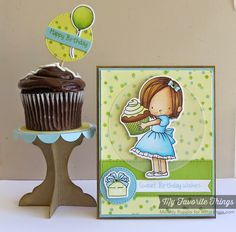 Sweet Birthday Wishes stamp set and Die-namics, Confetti Background, Cupcake Stand Die-namics, Fishtail Flags Layers STAX Die-namics, Stitched Circle STAX Die-namics, Vertical Stitched Strips Die-namics - Melody Rupple #mftstamps