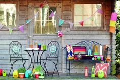 Break out the bunting, from £15. Garden accessories from Cargo include organdie bunting, £15, paper hanging lanterns, £4, cushions, from £12, and tealight holders, £8. 0844 848 3300, cargohomeshop.com