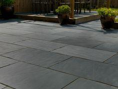 Midnight Slate Patio Pavestone (Midnight Slate Patio Pavestone) design ideas and photos Concrete Patios, Paver Stone Patio, Limestone Patio, Outdoor Paving, Paved Patio, Garden Paving, Outdoor Tiles, Outdoor Flooring, Garden Slabs
