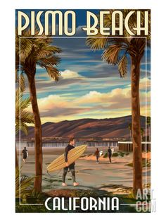 Pismo Beach, California - Surfer and Pier Print by Lantern Press at Art.com