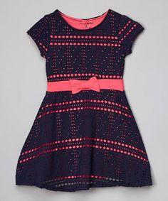 Another great find on #zulily! Navy Dot Bow Dress - Toddler & Girls #zulilyfinds