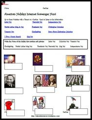 Internet Scavenger Hunt for American Holidays of: Independence day, Columbus Day, President's Day, Martin Luther King Jr Day, Labor Day, Memorial Day and Thanksgiving Day - free