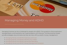 Managing Money and ADHD - CHADD Adhd Symptoms, Managing Your Money, Human Services, Money Matters, Money Management, Finance, Success, Facts, Social Media