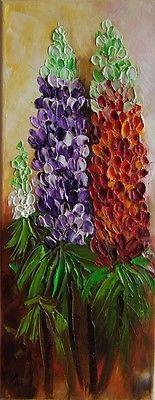 Lupine Flowers Original Oil Painting Textured Palette knife art Europe Artist