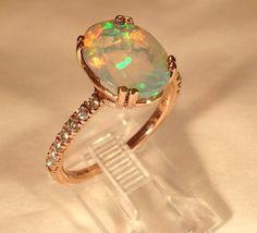 Beautiful Faceted Oval Ethiopian Welo Opal Diamond Ring Size 7 | eBay