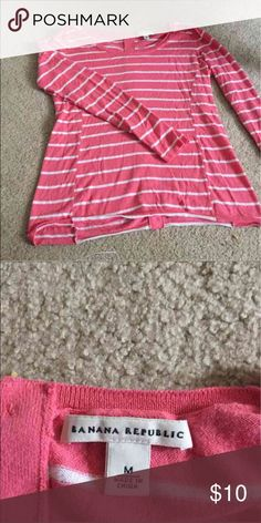 Banana Republic Top Pink and white long sleeves very light sweater, 100% cotton, size M Great condition Banana Republic Tops Button Down Shirts