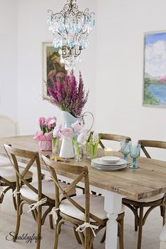Tips and Ideas on how to brighten up any room on a cloudy day from Shabbyfufu.  These flowers always help!