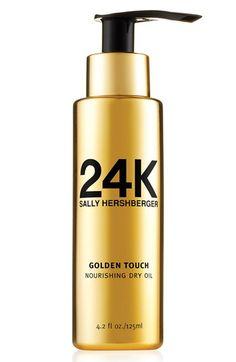 Free shipping and returns on Sally Hershberger '24K Golden Touch' Nourishing Dry Oil at Nordstrom.com. This plush, velvety formula transforms your hair to soft, silky perfection, penetrating deeply into your hair fibers to hydrate, smooth and define style without adding weight or leaving behind a greasy residue. It's infused with a unique combination of precious oils, goji berry and amber extract to help rejuvenate and repair dull, dry, damaged or color-treated hair with the highest level of…